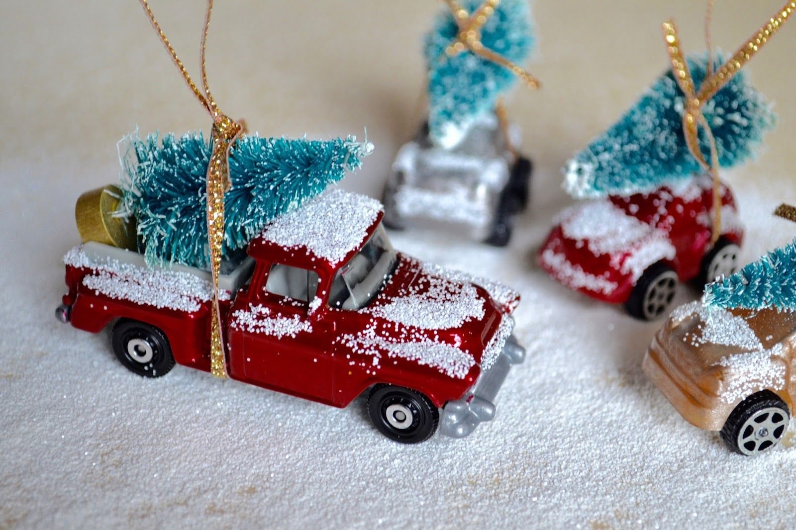 Diy Christmas Car Tree Decorations The Things She Makes Christmas Car Vintage Christmas Crafts Christmas Tree Toy