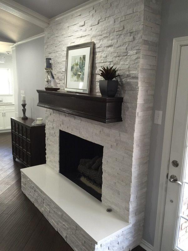 Fireplace Makeover Crystal White Quartzite 6x24 Interlocking