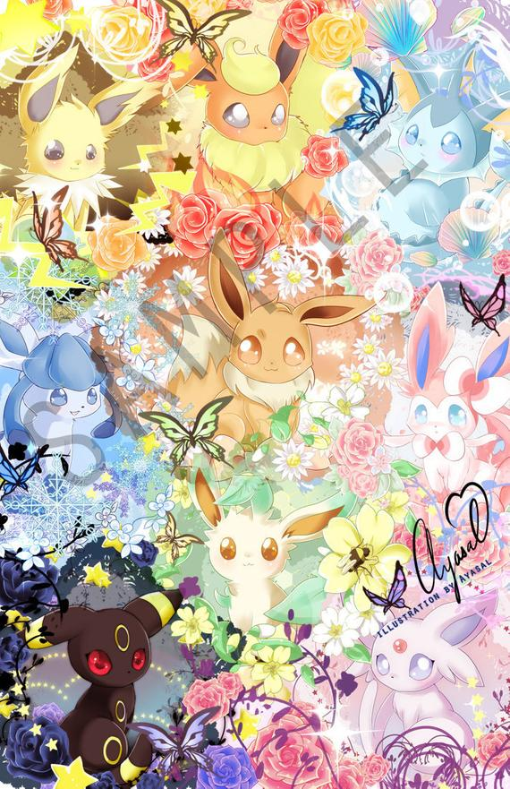 Available Size 4x6 7 X 11 11 X 17 13 X 19 Inches Paper Light Card Stock Semi Gloss Paper Pokemon Eeveelutions Cute Pokemon Wallpaper Eeveelutions