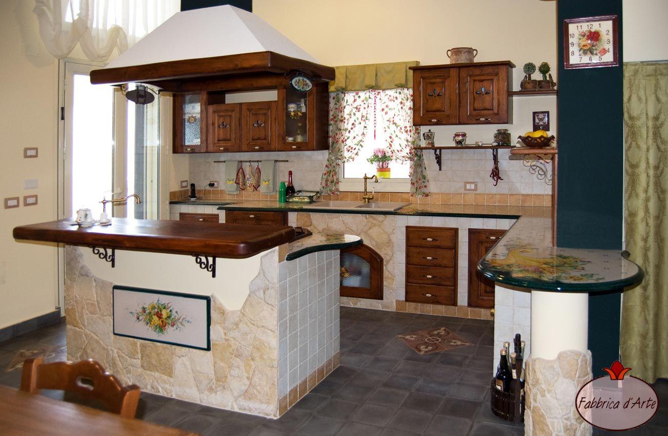 Con penisola cucine in finta muratura cucine in finta - Cucine in muratura con penisola ...
