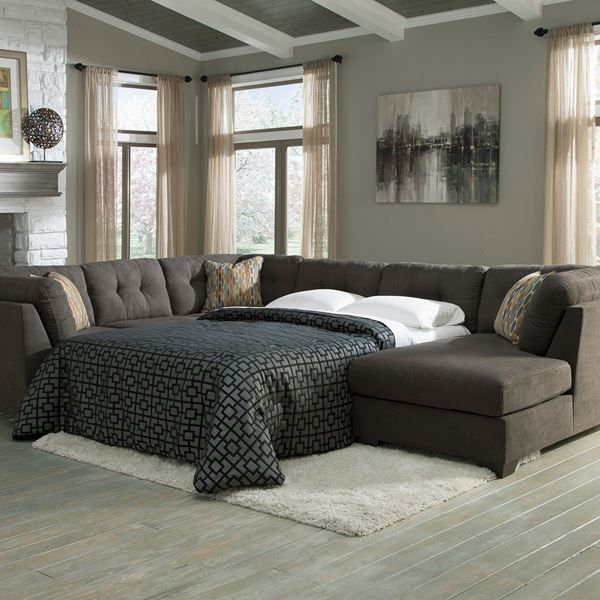 3PC Sleeper RAF Chaise- Steel N-197RC-3PCS by Ashley Furniture in contemporary gray color. Soft, comfortable and incredible sofa sleeper for your living room.
