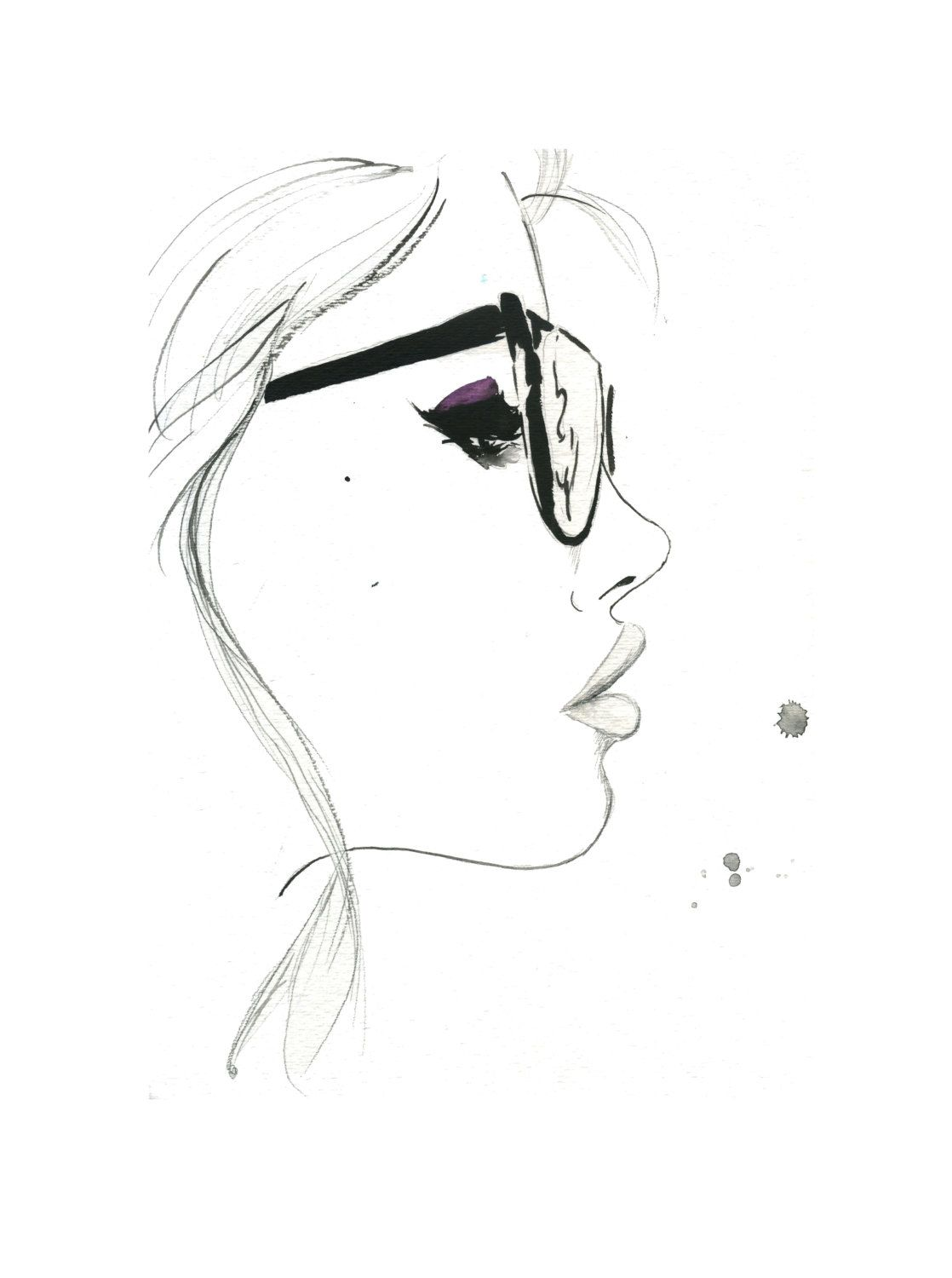 That Nerdy Girl Original Watercolor And Pen Fashion Illustration By Jessica Durrant