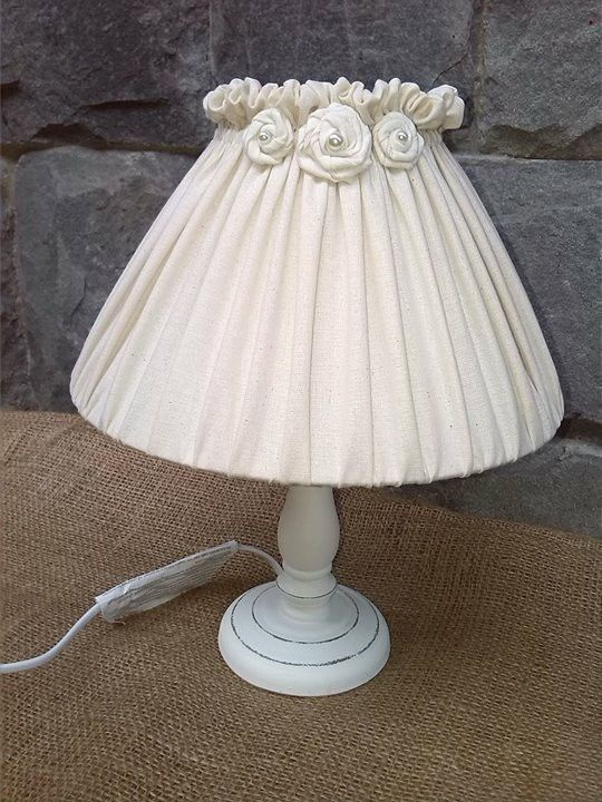 Sweet Shabby Chic White Table Lamp Decorated With Diy Fabric Roses