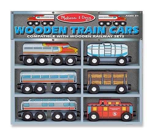 Melissa /& Doug TRAIN CARS Wooden Toy BN
