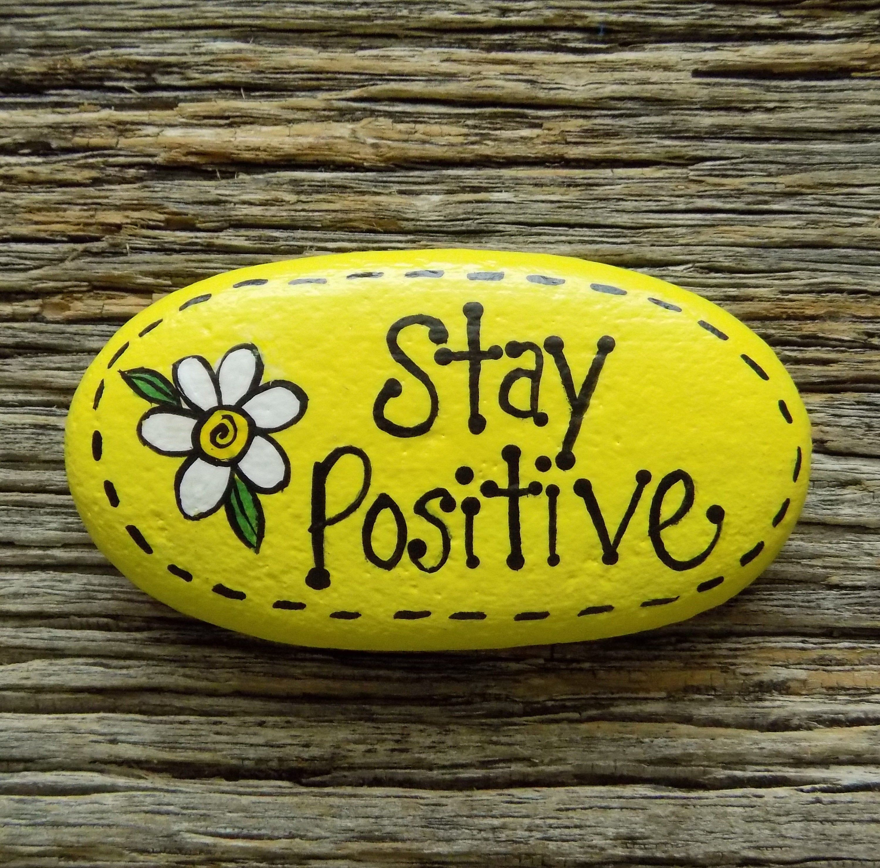 Stay Positive Daisy Painted Rock,Decorative Accent Stone, Paperweight