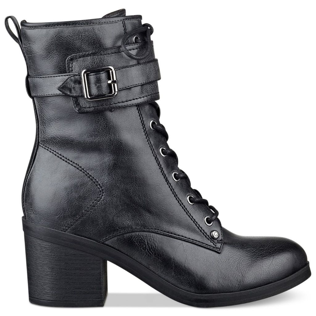 G BY GUESS Women/'s Ankle Boots Black faux Leather Lace Up Zip Combat Sz 9.5 M