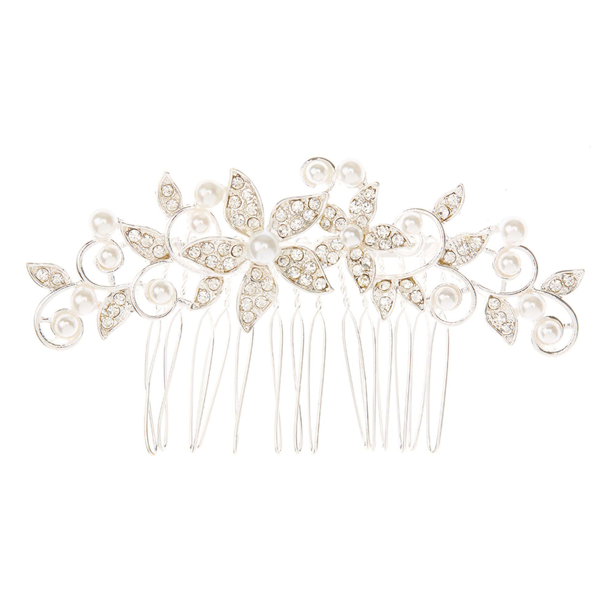 date de sortie commercialisable dernière mode Peigne à cheveux à fausses perles et bouquet de fleurs ...