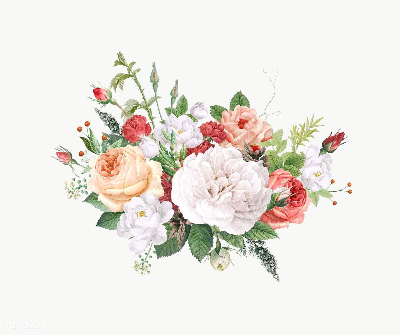 Vintage Colorful Flowers Design Transparent Png Premium Image By Rawpixel Com Por Piangpor Flower Design Vector Flower Illustration Floral Design