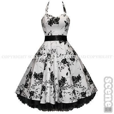 I found \'WHITE FLORAL PIN-UP ROCKABILLY VTG PROM DRESS SZ 8-18\' on ...