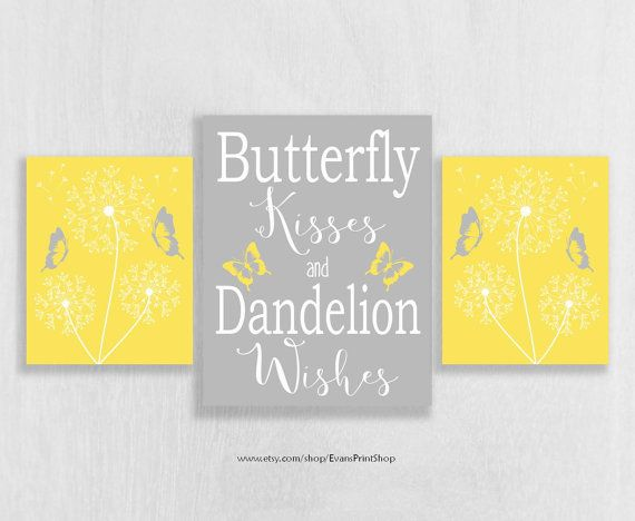CANVAS Yellow and Grey Wall Decor Yellow and by EvansPrintShop ...