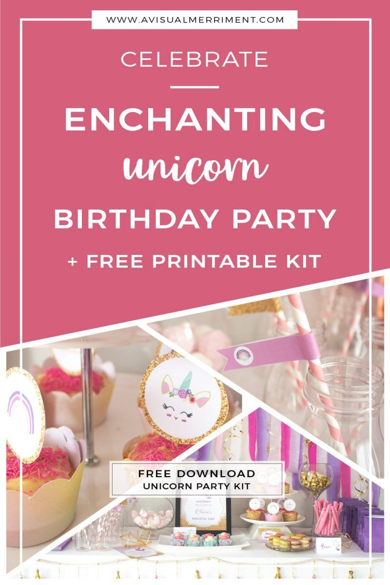 Unicorn Birthday party buffet, love the sign and streamer backdrop   Magical unicorn party plus {FREE} unicorn printables download kit   Printable unicorn themed kit comes with invitation, party sign, cupcake wrappers, cupcake toppers, food signs and straw flags   A Visual Merriment   #freeprintable #party #birthday #unicorn #girlsparty #backdrop #printable #magic #gold #streamerbackdrop
