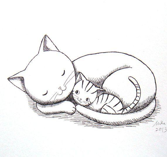 Pin By Marinieves Morales On Dibujando Un Lindo Gatito Cat Art Print Baby Animal Nursery Art Cat Wall Art