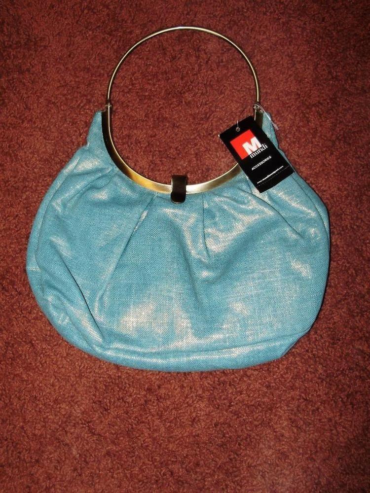 Mundi Brand Womens Handbag Purse New Metallic Spring Blue Msrp 40 Free