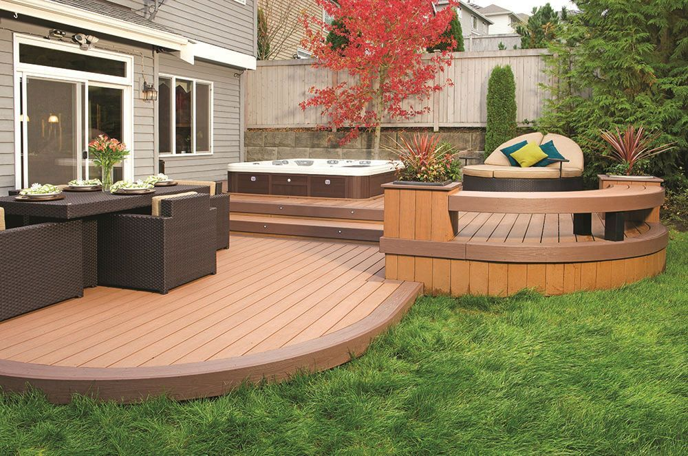 Outdoor Design Dreaming Patios Fire Pits Hot Tubs Oh My Small Backyard Decks Decks Backyard Deck Designs Backyard