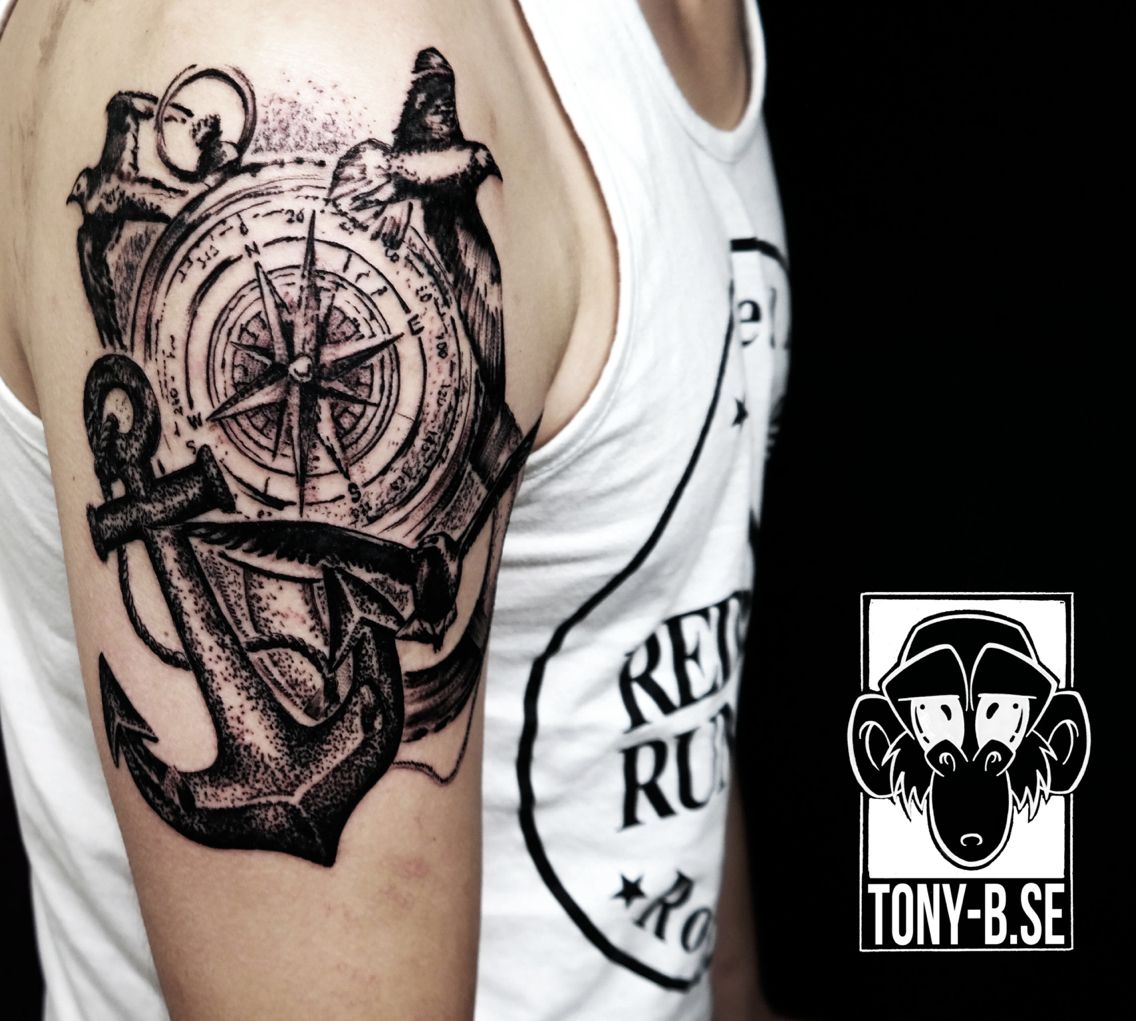 d6639a752 Compass Tattoo With anchor and swallow | Tattoos ❤ | Anchor compass ...