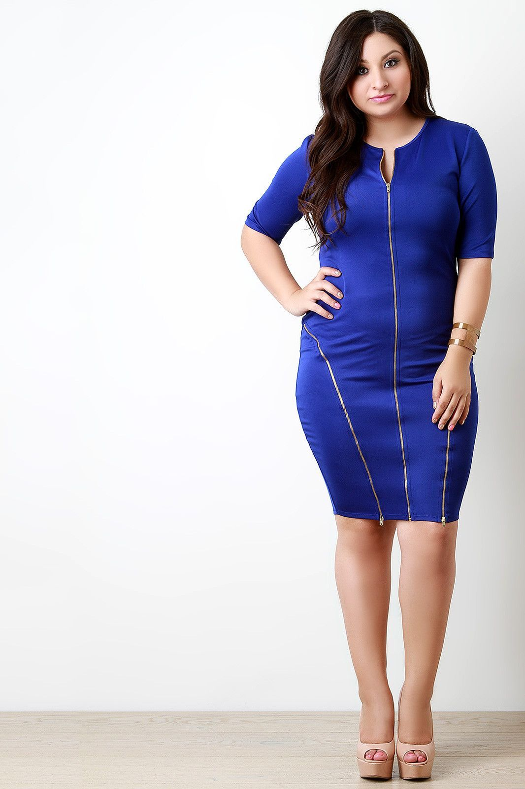 Threeway zipper trim bodycon dress dresses and zippers