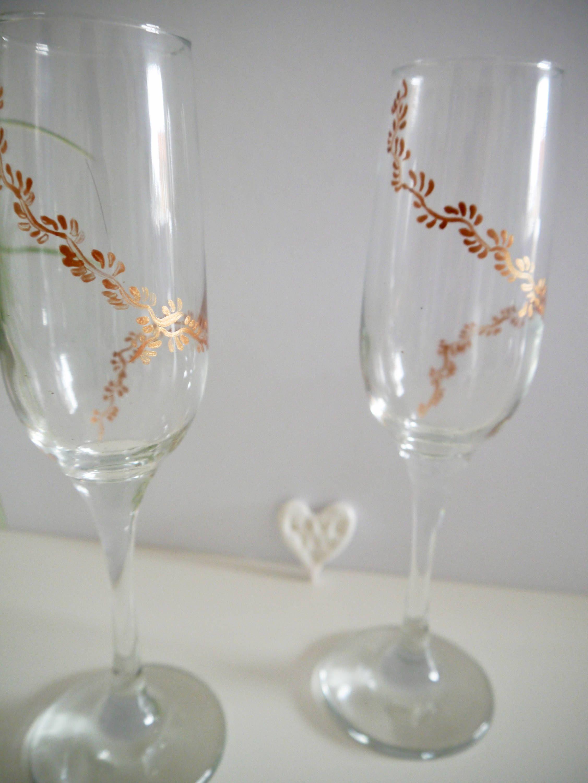 Wedding flutes, wedding glasses, copper, wedding gift, engagement ...