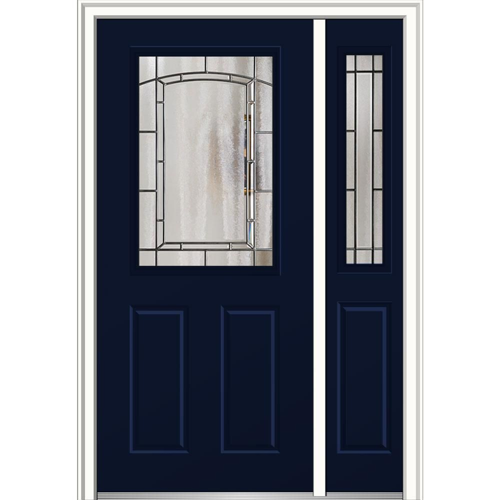 Mmi Door 50 In X 80 In Solstice Glass Left Hand 1 2 Lite 2 Panel Classic Painted Steel Prehung Front Door With Sidelite Naval Mmi Door Front Door
