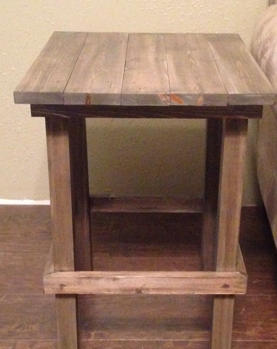 Simple End Table Made With Pine Wood. One 8ft 2x2 For Legs, One 8ft
