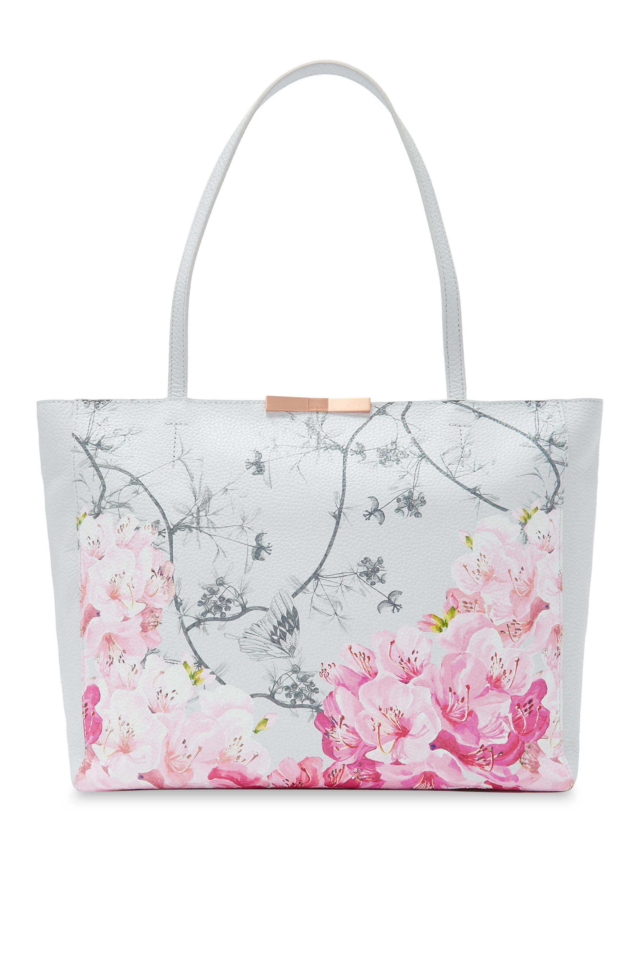 Womens Ted Baker Grey Jeenaa Floral Print Shopper Bag Grey