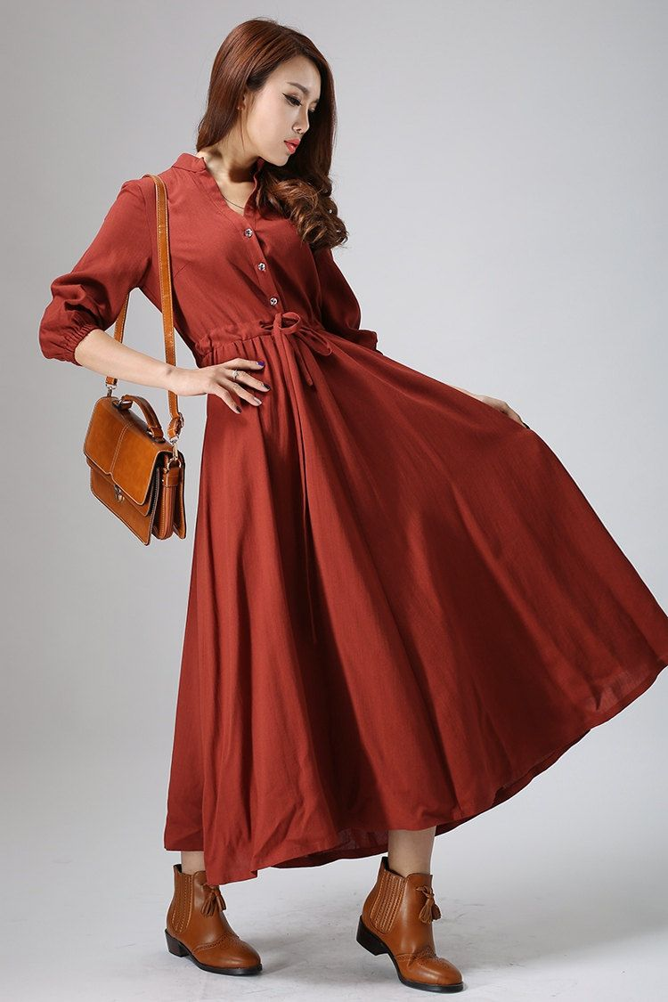 Casual linen dress woman long sleeve dress custom made day dress