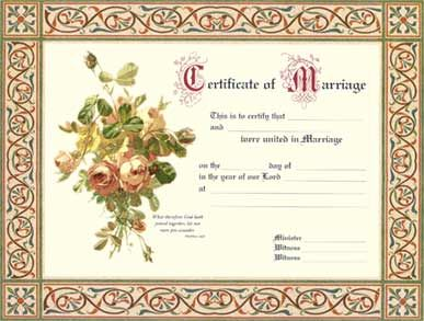 marriage certificate vintage rose graphics marriage wedding