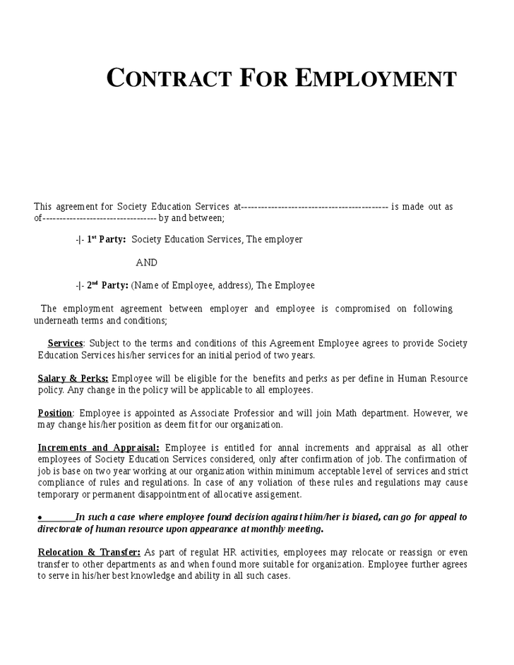Contract Agreement Sample | Example Employment Contract Invitation Templates Employment