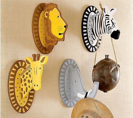 Safari animals wall hooks kids decor monkey - Kids decorative wall hooks ...