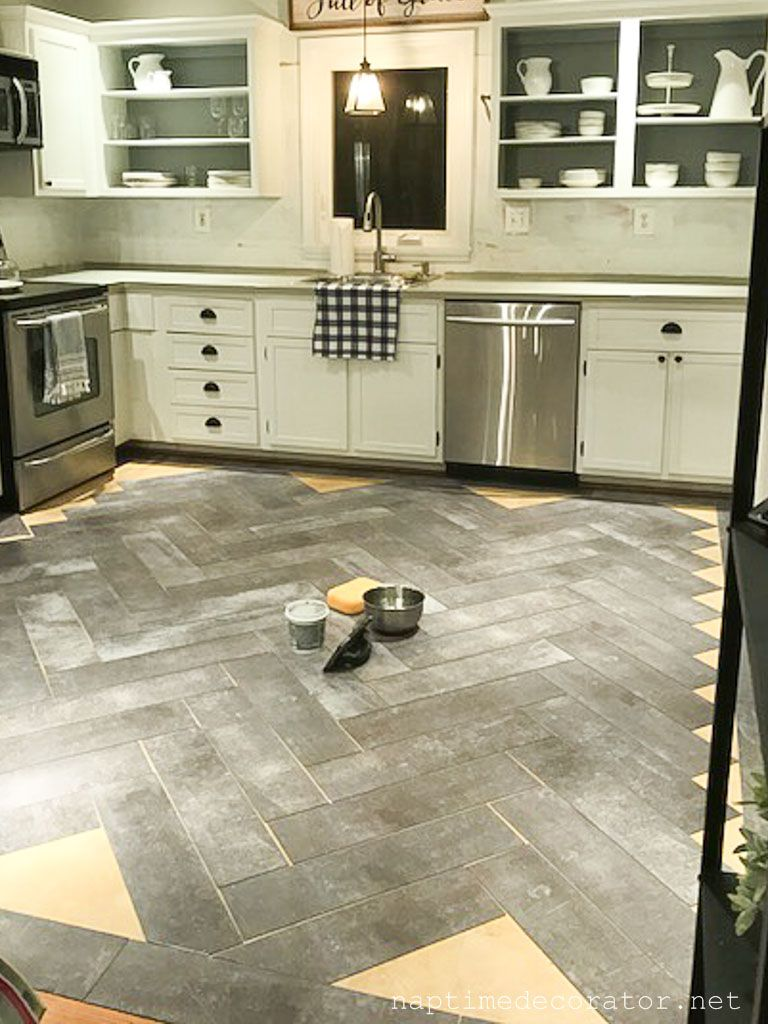 Peel And Stick Floor Tile In The Kitchen A Gorgeous Budget Friendly Diy Diy Kitchen Flooring Kitchen Decor Inspiration Diy Kitchen Renovation