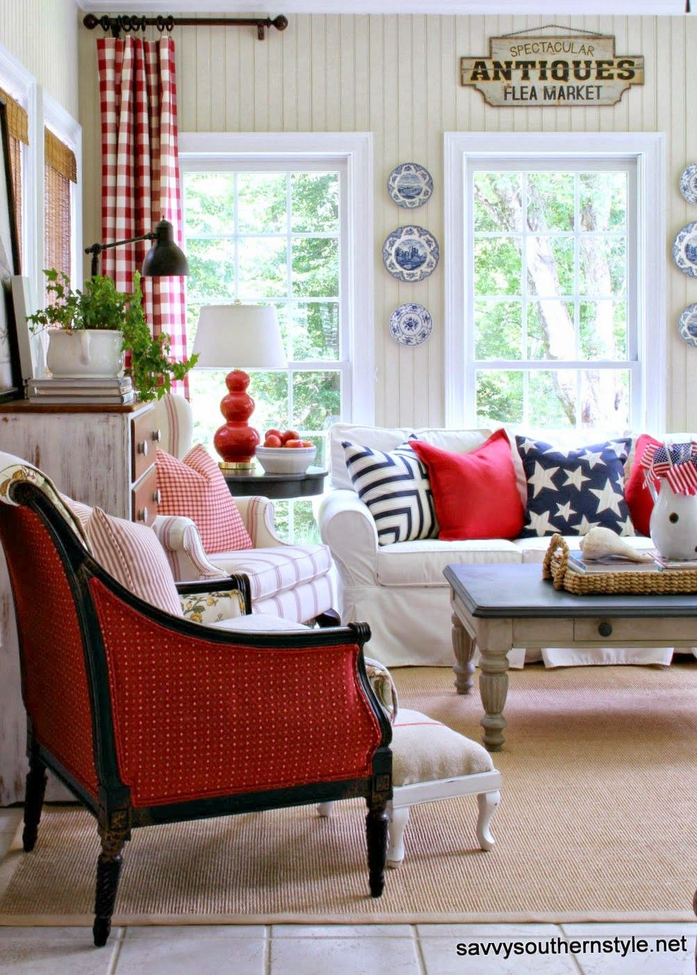 savvy southern style stars and stripes in the sun room red white find this pin and more on