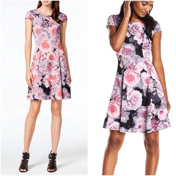Betsey Johnson Womens Floral Scuba Fit-and-Flare Dress