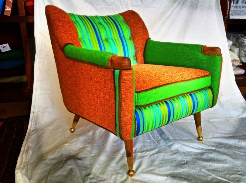 A Danish Modern Chair Is Done Funky With Vintage Boris Kroll Fabric In This  Design Submitted