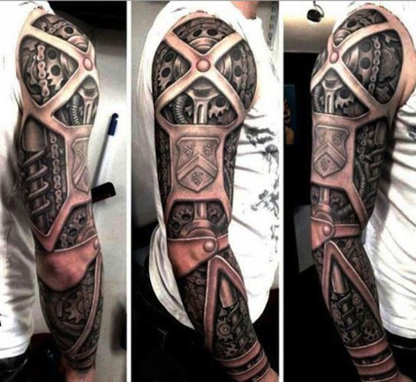 634cdbb14 45 Awesome Biomechanical Tattoo Designs Biomechanical tattoos are awesome.  There's no better way to phrase it. The incredible amount of detail put  into ...
