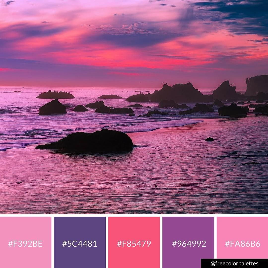 Sunset Sunrise Oceanic Pink And Purple Color Palette Inspiration Digital Art Palett Beach Color Palettes Mermaid Colors Palette Purple Color Palettes