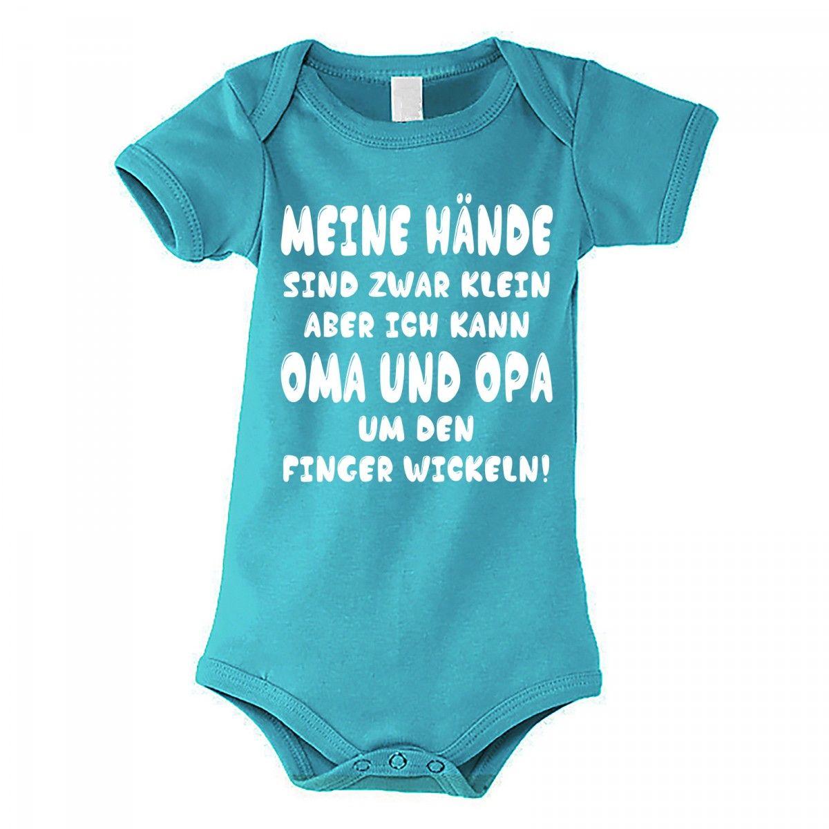 Kinder Babybody Modell Meine Hände Sind Zwar Klein Aber Ich Kann Oma Und Opa Um Den Finger Wickeln Farbe G Oma Und Opa Baby Body Sprüche Baby Einteiler