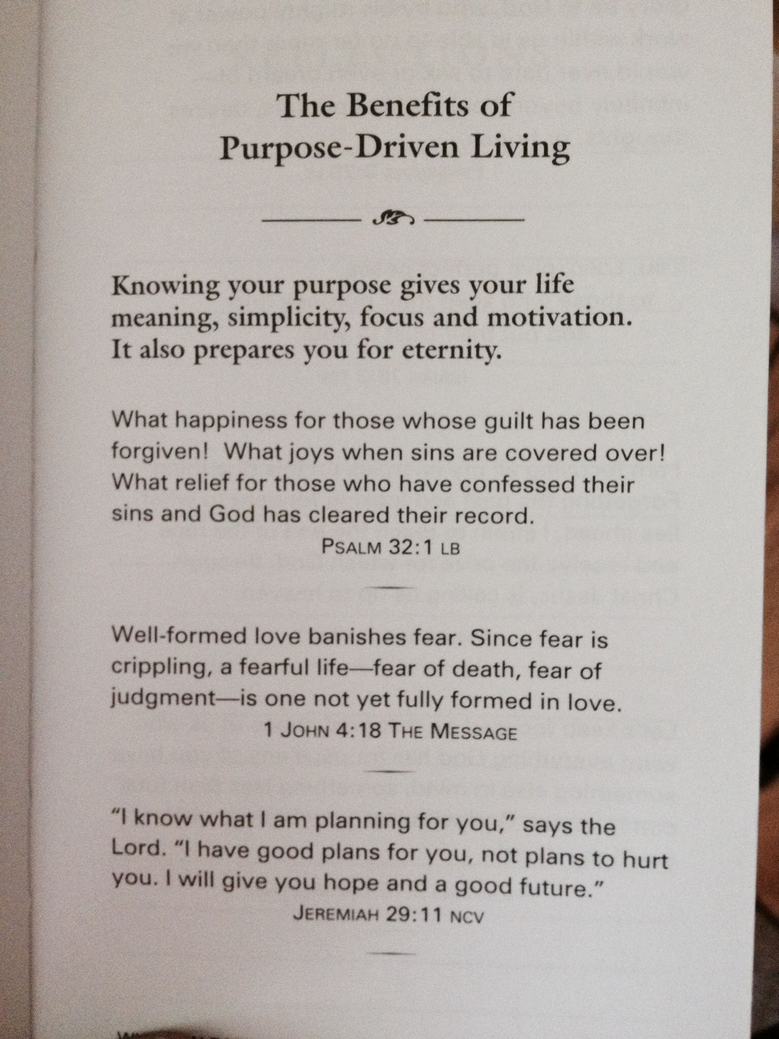 Summary of purpose driven life by