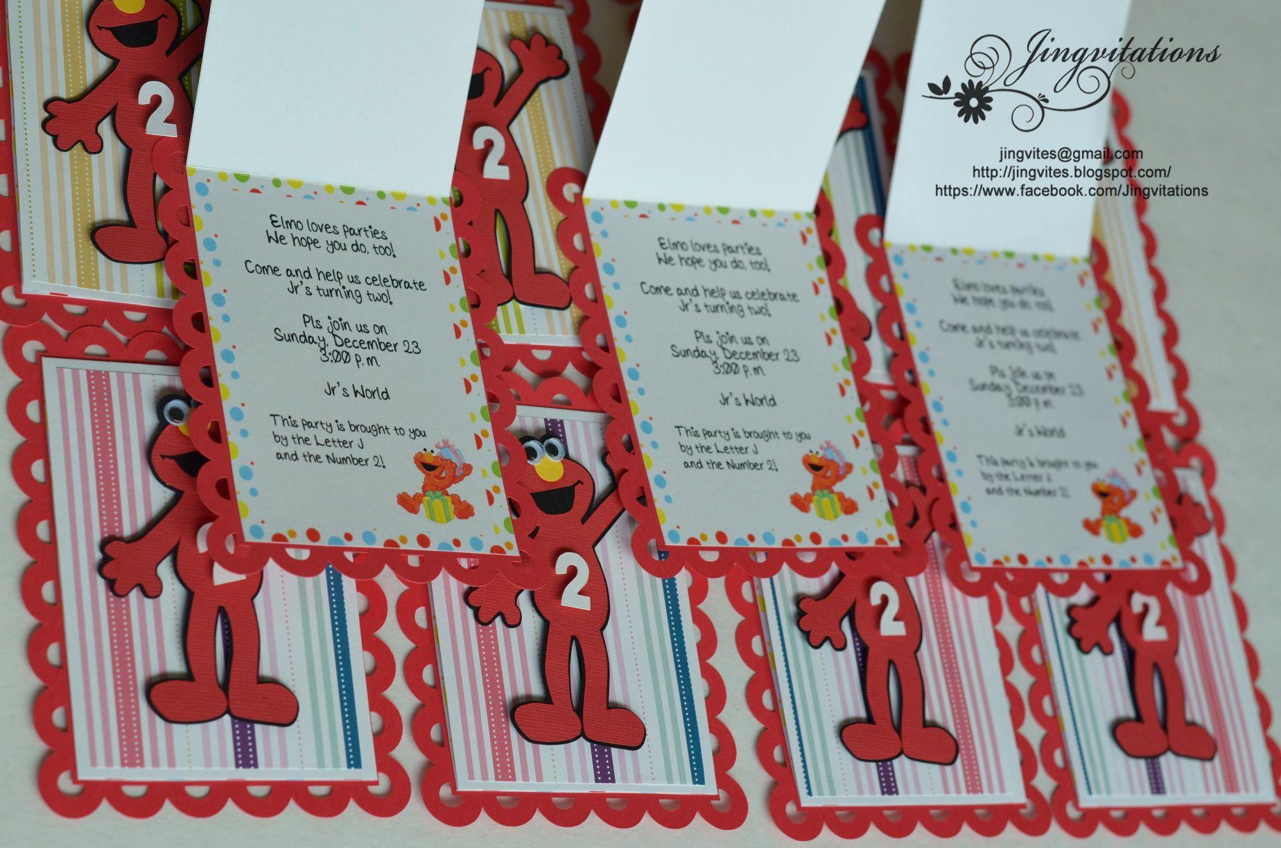 Elmo Invites 3 1848x1224 Pixels InvitationsHandmade InvitationsBirthday