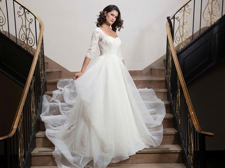 Long Sleeve V-Neckline High Low Chantilly Lace Wedding Dress by Oleg ...