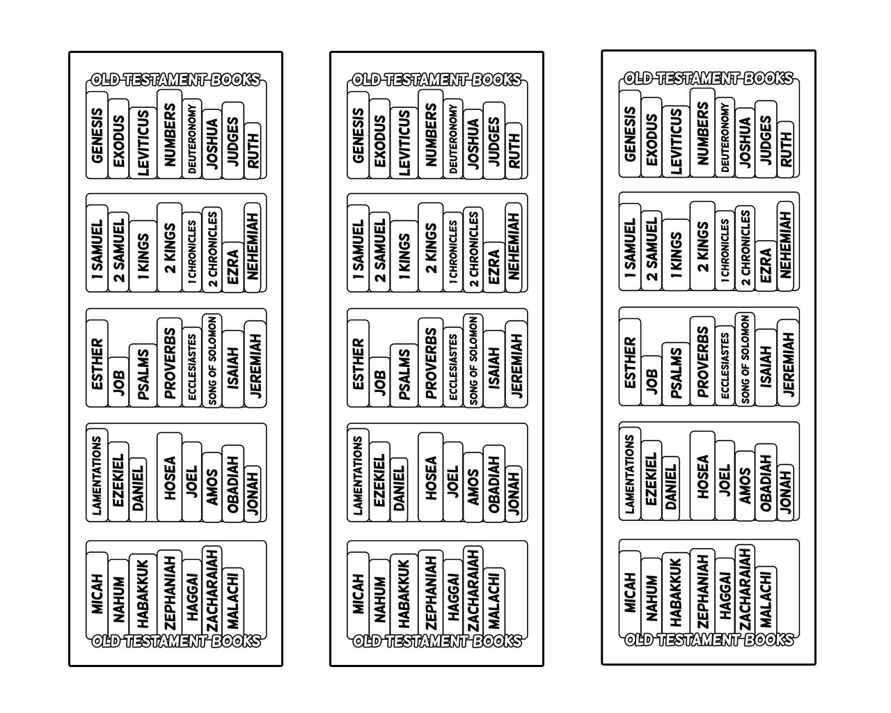 Religious bookmarks to color - These Bible Bookcase Bookmarks Will Help You Find The Books Of The Bible And Help You