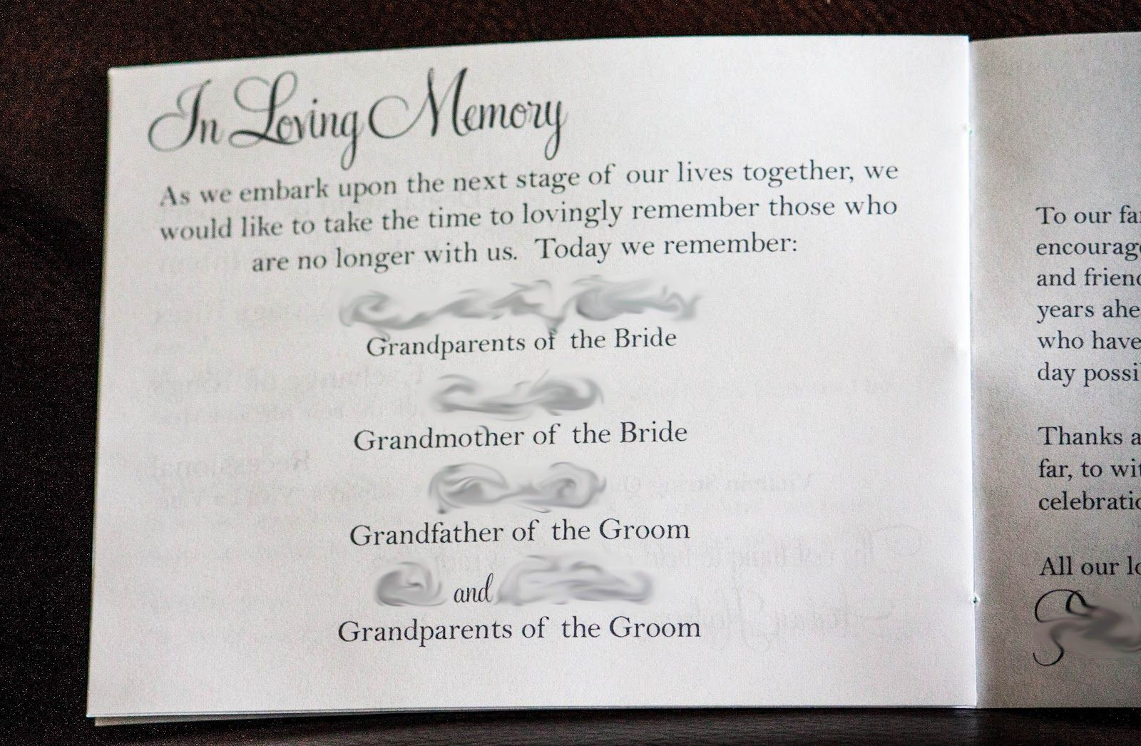 Unique Wedding Program Love The In Loving Memory Portion Description From Pinterest Com I Sea Love Quotes For Wedding Wedding Card Quotes Wedding Programs