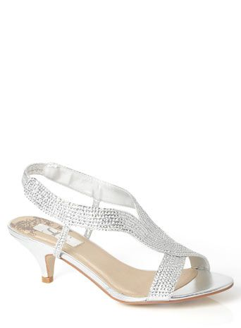 Evans Silver Jewel Strap Heeled Sandals - Shoes - Evans | Wedding ...