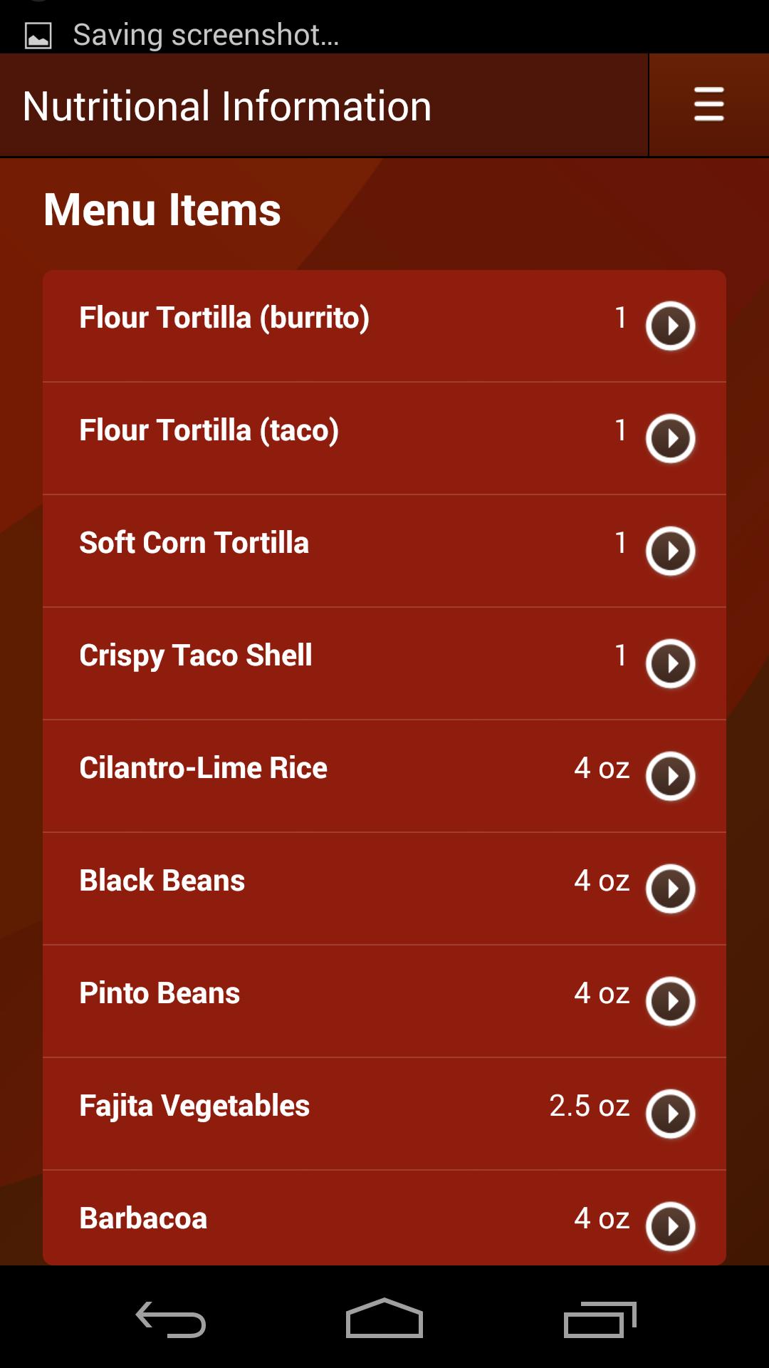 Chipotle app Crispy tacos, Fajita vegetables, Flour