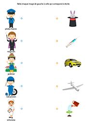 Relier les images, les professions (3)   Jeux éducatifs ...