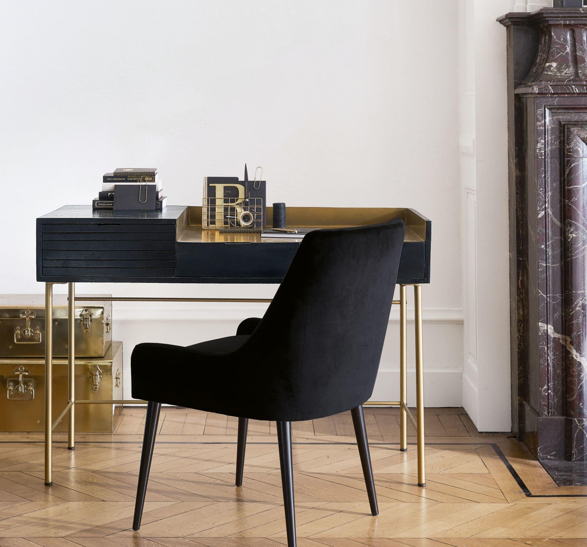 Chaise En Velours Noir Et Bouleau Otto Maisons Du Monde Desk With Drawers Loft Inspiration Apartment Style