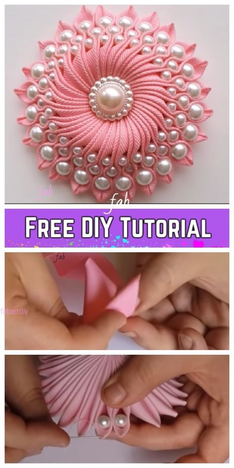 Kanzashi DIY Ribbon Flower with Beads Tutorial - Video -   18 ribbon flower crafts