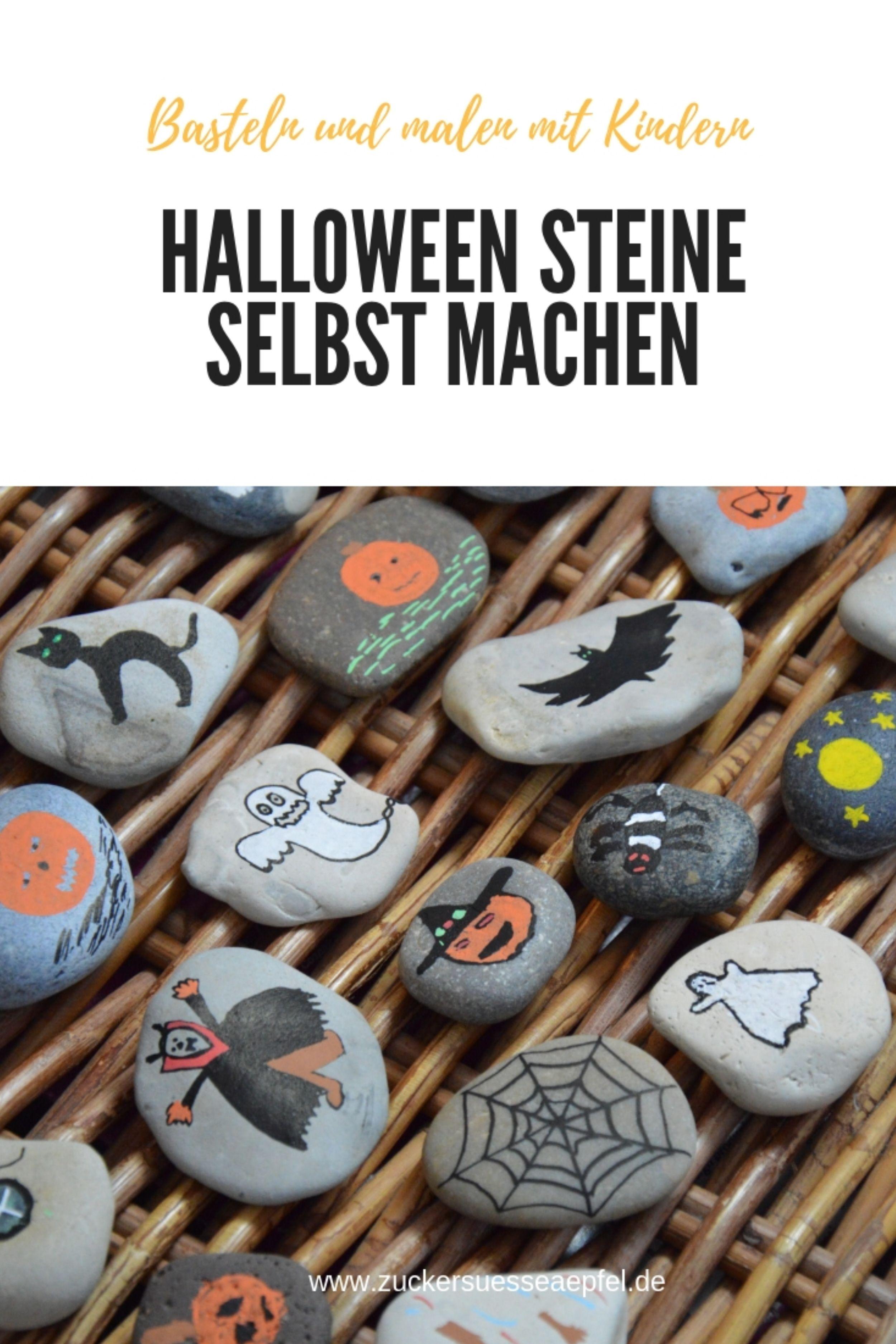 Halloween Steine als Dekoration selbst machen