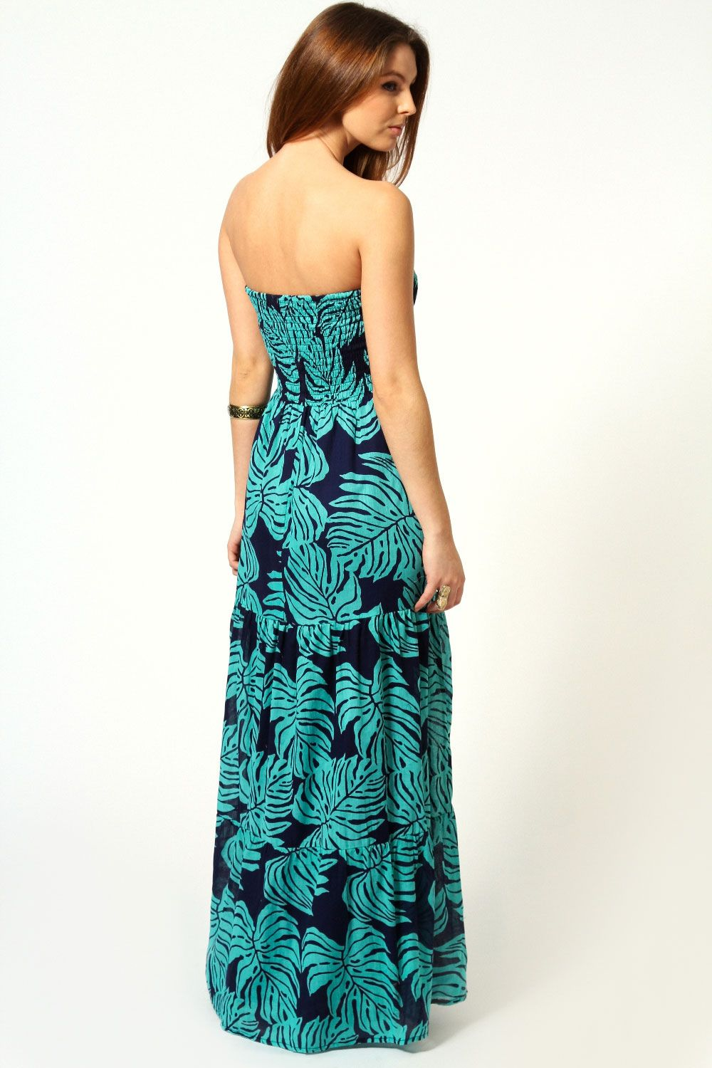 Izzy shirred tiered cotton maxi dress in teal blue clothes u stuff