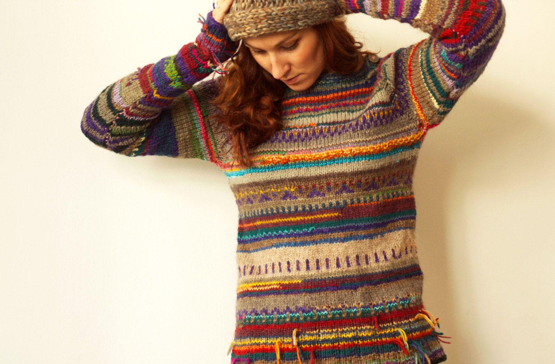 miglior servizio 2872b 2cdcb Handmade striped wool sweater | maglia | Maglioni di lana ...