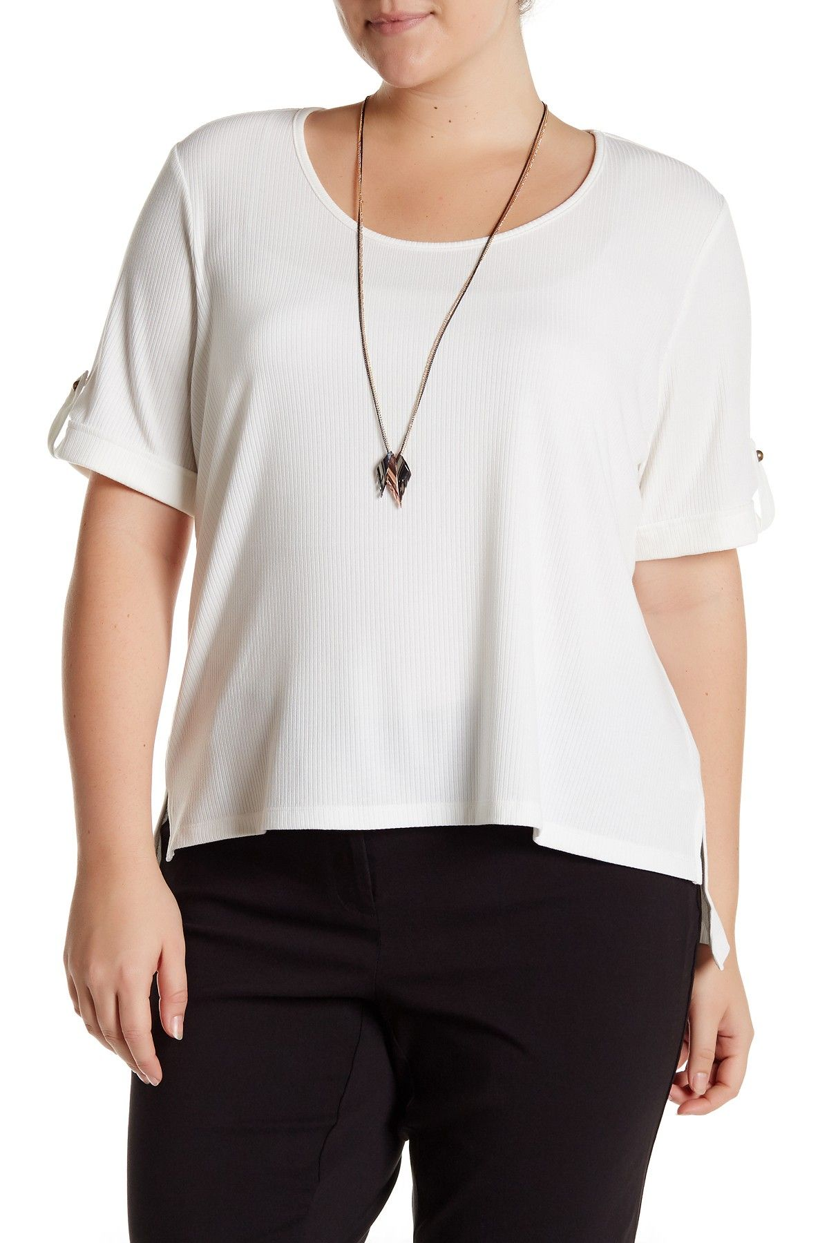 7881e4de166b9 Ribbed Short Sleeve Tee with Necklace (Plus Size)