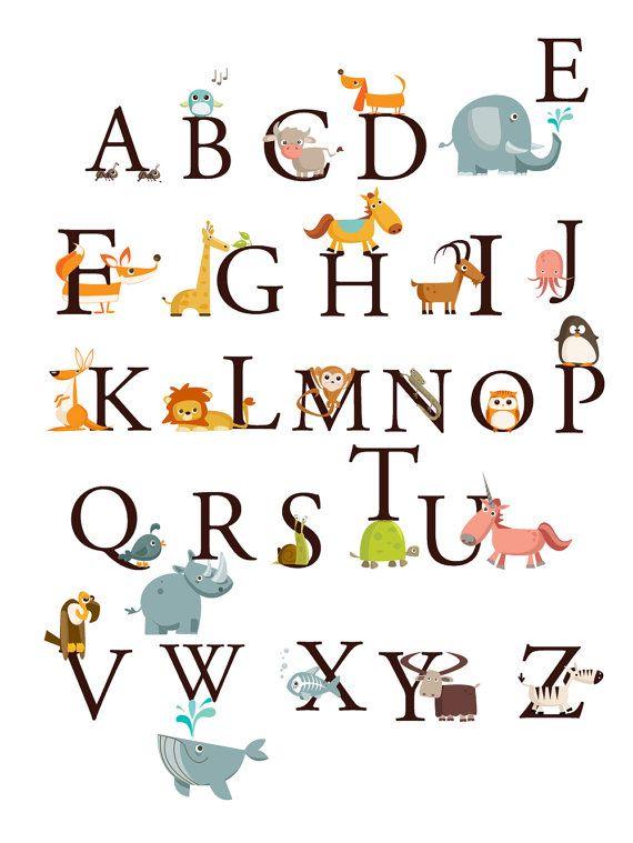 Alphabet animals a z large set kids wall art decals stickers nursery